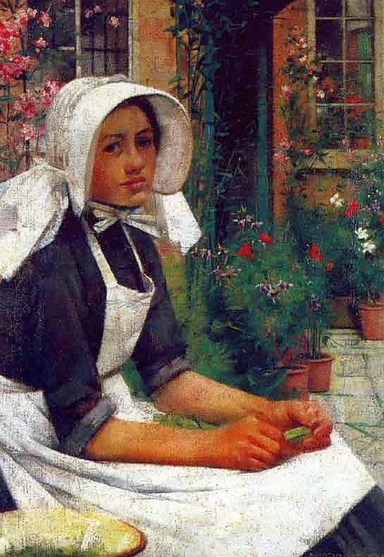 Albert_Chevallier_Tayler_-_Girl_Shelling_Peas_1886